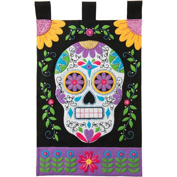 "Sugar Skull Bucilla Felt Wall Hanging Applique Kit 15""X25"""