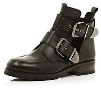Black cut out chunky buckle ankle boots - ankle boots - shoes / boots - women