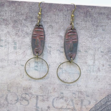 Ethnic Earrings, African Mask Earrings, African Earrings, Tribal Style, Ceramic Pendants, Handmade Jewelry, Womens Gift