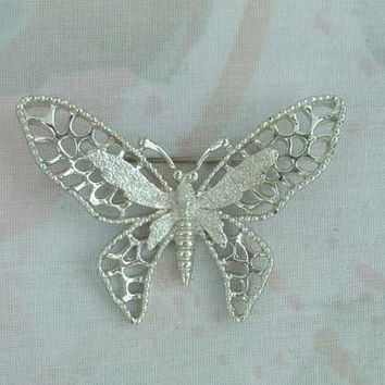 Sarah Coventry Silvertone MADAME BUTTERFLY 1971 Brooch Large Pin Vintage Jewelry
