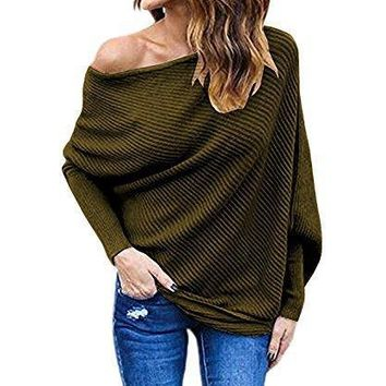 Shining4U Women's Off Shoulder Batwing Sleeve Loose Pullover Sweater Knit Jumper