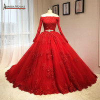 2016 Newest Red Wedding Dress Puffy Ball Gown Long Sleeves Patterns