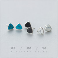 Real. 925 Sterling Silver Black /white/blue Turquoise triangle stud Earrings sterling silver jewelry geometric 8MM GTLE1021-in Earrings from Jewelry & Accessories on Aliexpress.com | Alibaba Group