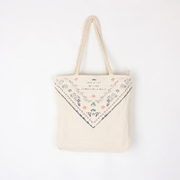 Printed Beige Tote Bag, Rustic Style, Made to Order