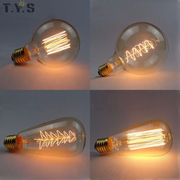 Vintage Retro Edison Bulb Lamp ST64 G80 G95 G125 40W Incandescent Light E27 220V Lampada Edison Light Pendant Lamp Holiday Light
