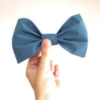 Oceans Blue Big Bow Hair Clip // Upcycled & repurposed fashion // slow fashion // Nautical