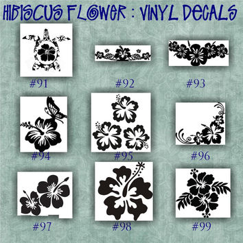 HIBISCUS FLOWER vinyl decal | water bottle decal | car decals | car stickers | laptop sticker - 91-99