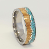 Wooden Ring with Crushed Turquoise and Burl Wood Ring, Wood Inlay Ring, Ring Armor Included