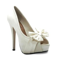 LADIES IVORY SATIN BOW PEEP TOE BRIDAL WEDDING SHOES HIGH HEEL SHOES 3 4 5 6 7 8