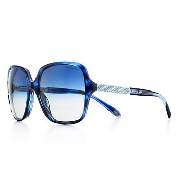 Tiffany & Co. -  Tiffany Metro square sunglasses in ocean blue acetate with Austrian crystals.