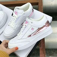 FILA Popular Women Casual Leather Sport Running Shoes Sneakers White/Pink