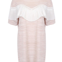 Nude Knitted Shift Dress with Pleat Detail Crochet Inset