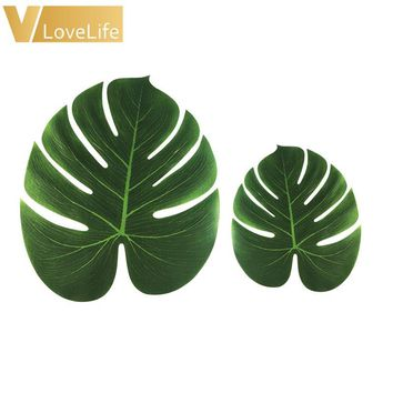 24pcs Artificial Tropical Palm Leaves Simulation Leaf for Hawaiian Luau Party Supplies Beach Theme Wedding Decor 18x20cm/29x35cm