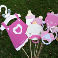 Photo booth props: pink  baby shower