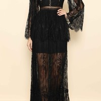 Black Heart Lace Long Bell Sleeve Crew Neck Tiered Maxi Dress - 2 Colors Available