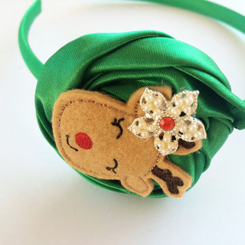Christmas Headband for Girl - Green Satin Headband - Reindeer Headband for Girls - Christmas Photo Prop - Green Flower Head Band -