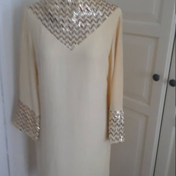 "60s Mod Cream Crepe Dress, Sequins, Silver & Gold, Shift, Size Medium, 37"" B"