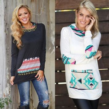 Womens Long Sleeve Printed attached pocket Blouse Bodycon hooded Crew neck Shirt Autumn Top Long T-Shirt NEW