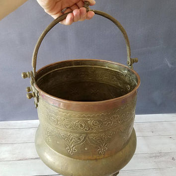 Large Brass Planter/ Large Brass Cauldron/ Large Hanging Planter/ Brass Planter/ Footed Planter/ Hanging Planter/ Indoor Planter/ Succulent