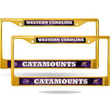 Western Carolina Catamounts NCAA Gold Painted Chrome Metal (2) License Frame Set