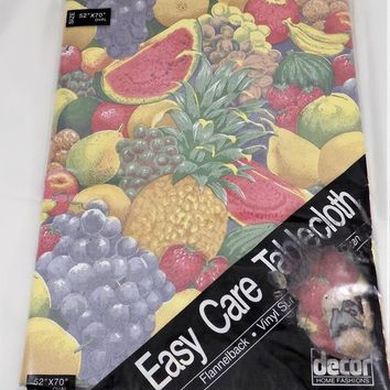 "Fruit Vinyl Tablecloth, 52"" x 70"" Oval, NOS Decor Home Fashions, Bold Fruit Design, Vintage Linens"