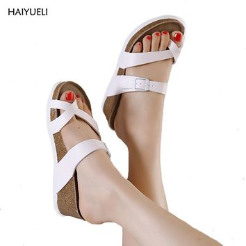 Women's summer slippers clogs casual platform wedge sandals Women's genuine leather sandals Low heeled shoes flip flop