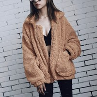 Khaki Lapel Long Sleeve Faux Fur Coat Shearling Jacket