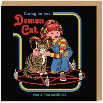 Caring For Your Demon Cat Retro Card