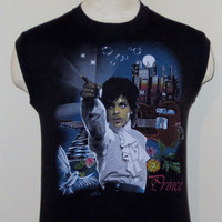 Vintage Deadstock 1985 PRINCE And The REVOLUTION Rare Band Tour GRAPHIC Music Purple Rain Men Women Black Small 50/50 Sleeveless T-Shirt