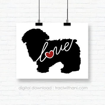INSTANT DOWNLOAD: Maltipoo - Silhouette, Print, Digital, Dog, Breeds, Gift, Wall Art, Artwork, Printable, Wall Hanging, Instant, DIY, Gift