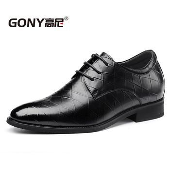 New 2018 Calfskin Embossed Leather Dress Formal Height Increasing Shoes for Men Wedding Party