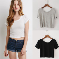 Short Sleeves Round Neck  Cropped Top