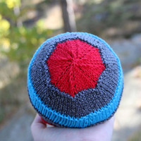 Handknit baby hat, soft and non-itchy merino and cotton yarn in red, gray and blue, boy or girls hat, baby shower gift