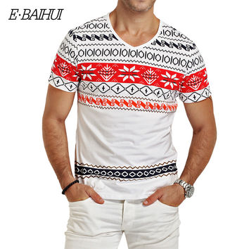 E-BAIHUI Fashion Mens brand clothing T Shirts 2016 Indian style Printed Men's Cotton V-neck t shirts Summer Fitness top Tee Y026