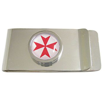 Bordered Red Maltese Cross Pendant Money Clip