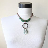 Antique Green Circle Wood Gemstone Bib Tribal Necklace - Necklaces for Women