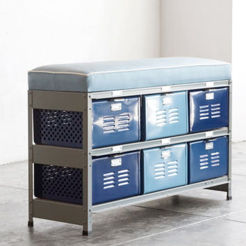 3 x 2 Reclaimed Locker Basket Unit with Padded Bench Seat