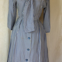 CLEARANCE: Vintage 1950s Blue And White Gingham Dress / 50s Check Dress / Sailor Collar Dress / Ascot Tie
