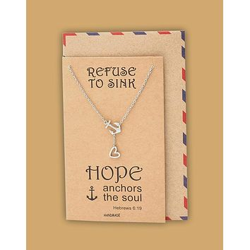 Hope Heart Lariat Anchor Necklace, Christian Jewelry, Sympathy Gifts