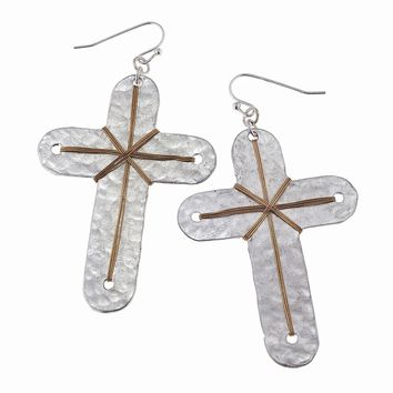 Worn Silver With Gold Wire Wrapped Cross Earring