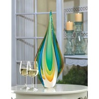 Lovely Twisted Tear Drop Art Glass