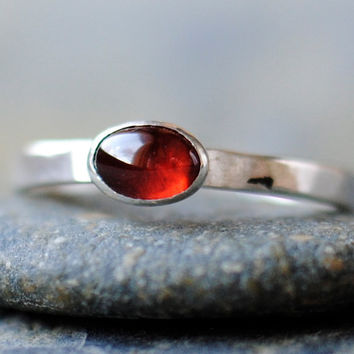 Garnet Cabochon Ring Oval Cabochon Sterling by DalkullanJewelry