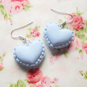 Macaroon Earrings, Heart Macaroon Earrings, Macaron Earrings, Heart Macaron Earrings, Sweet Lolita Earrings, Pastel, Blue, Macaroons