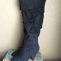 Black Suede Thigh High Heel Boots By Bamboo Size 7.5