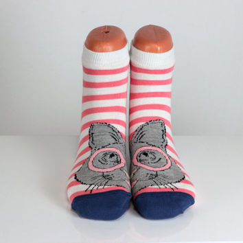 Bespectacled Cat Socks White Pink Striped Ladies Socks Sweet Funny Socks Ankle Socks Animal Socks Cute Fun Socks Cotton Animal Socks echerpe