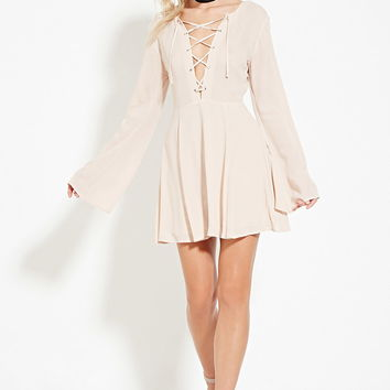 Lace-Up Fit and Flare Dress | Forever 21 - 2000181658