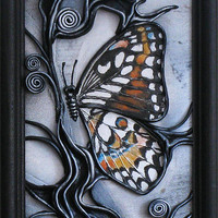 Abstract Wall Hanging, Hand Painted Leather Art Picture, Wooden Frame, Hand Painted Butterfly, Acrylic Paste Relief Background
