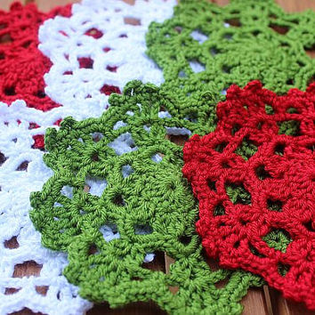 Crocheted Coasters  - Handmade Coasters In Christmas Colors - Handwoven Red White Green Coasters