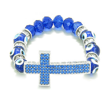 Amulet Evil Eye Protection Hearts Cross Charm Spiritual Powers Bracelet Royal Blue Glass Crystals Beads