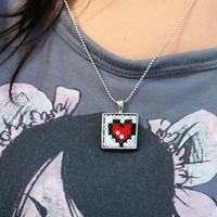 8 bit Heart Pendant Necklace 1 inch Square Tray with Ball Chain.